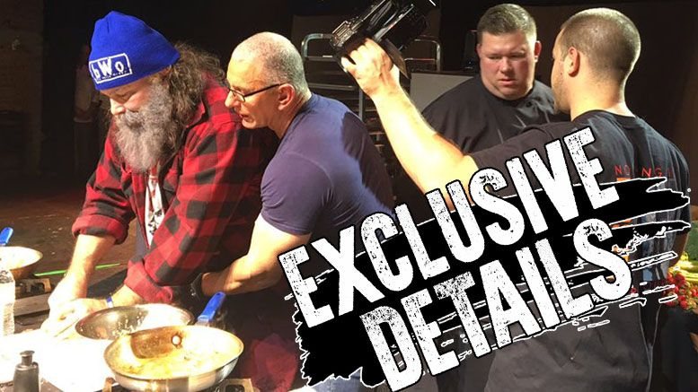 mick foley robert irvine live cooking show handcuffs wrestling food network