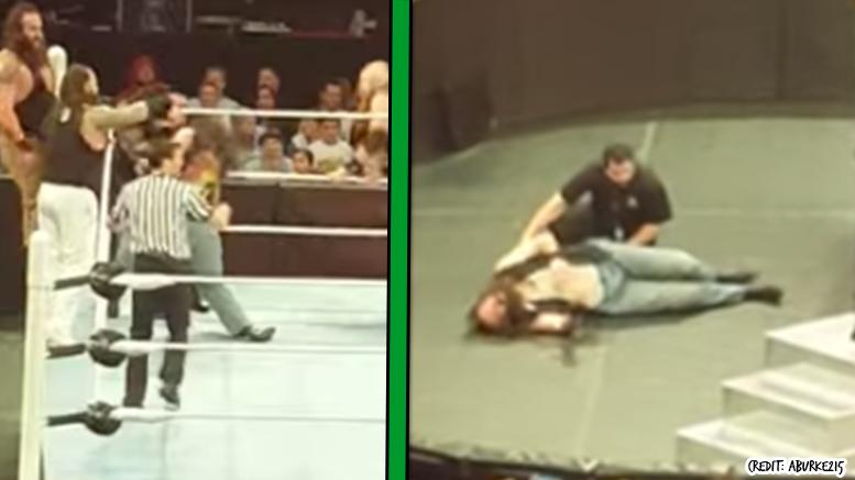 Luke Harper Injury video raw leg knee braun strowman fan incident
