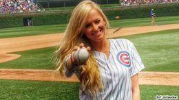 Summer Rae first pitch cubs wwe sheamus video wrestling baseball
