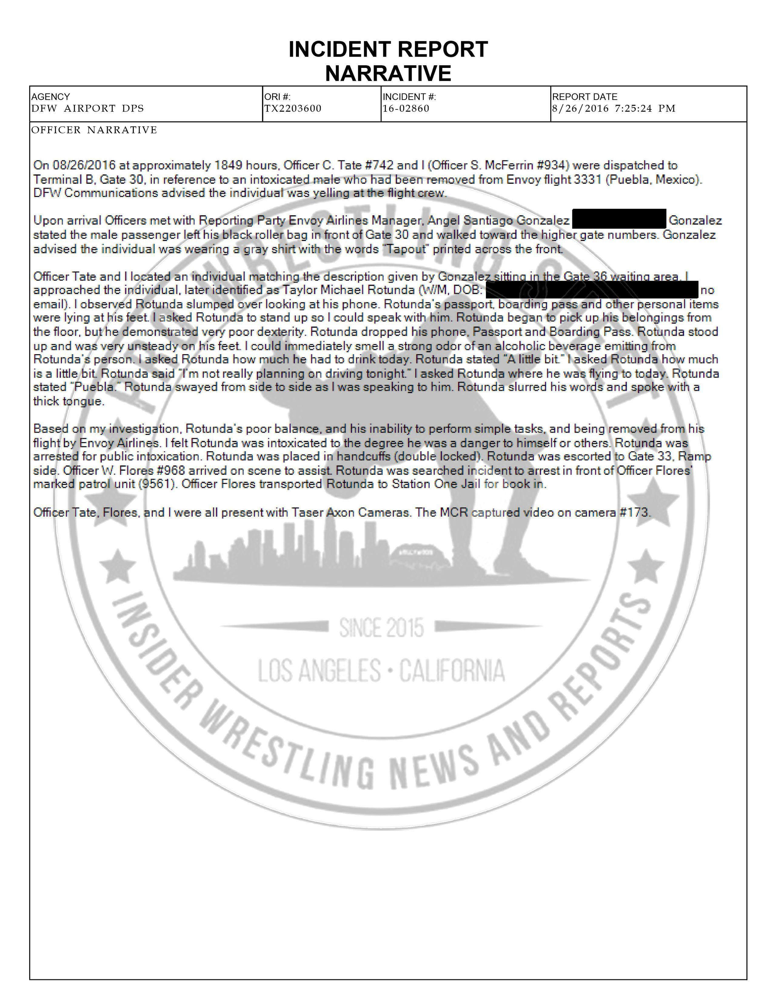 Bo Dallas Police Report   Pro Wrestling Sheet   Insider