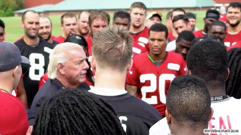 atlanta falcons ric flair training camp visit video wrestling wrestler football