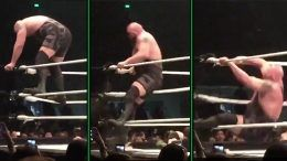big show falls top rope middle breaks turnbuckle manila