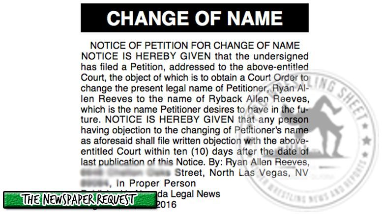 ryback name change proof advertisment newspaper