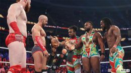 new day lose tag titles video roadblock wwe wrestling cesaro sheamus