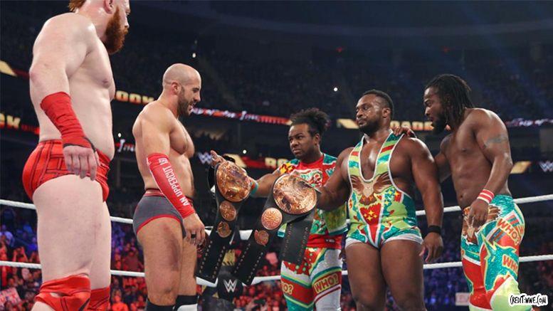 new day lose tag titles video roadblock wwe wrestling cesaro sheamus