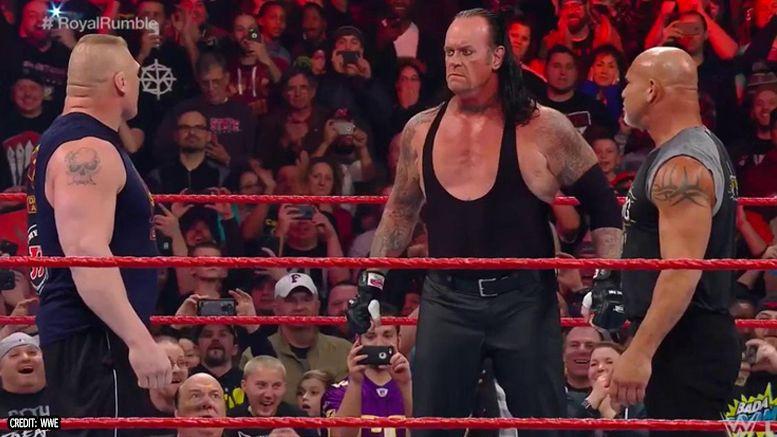 face off raw undertaker goldberg brock lesnar wwe royal rumble video