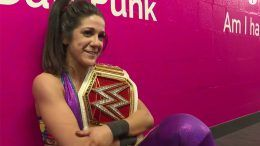 bayley wins womens championship reaction hug all night video