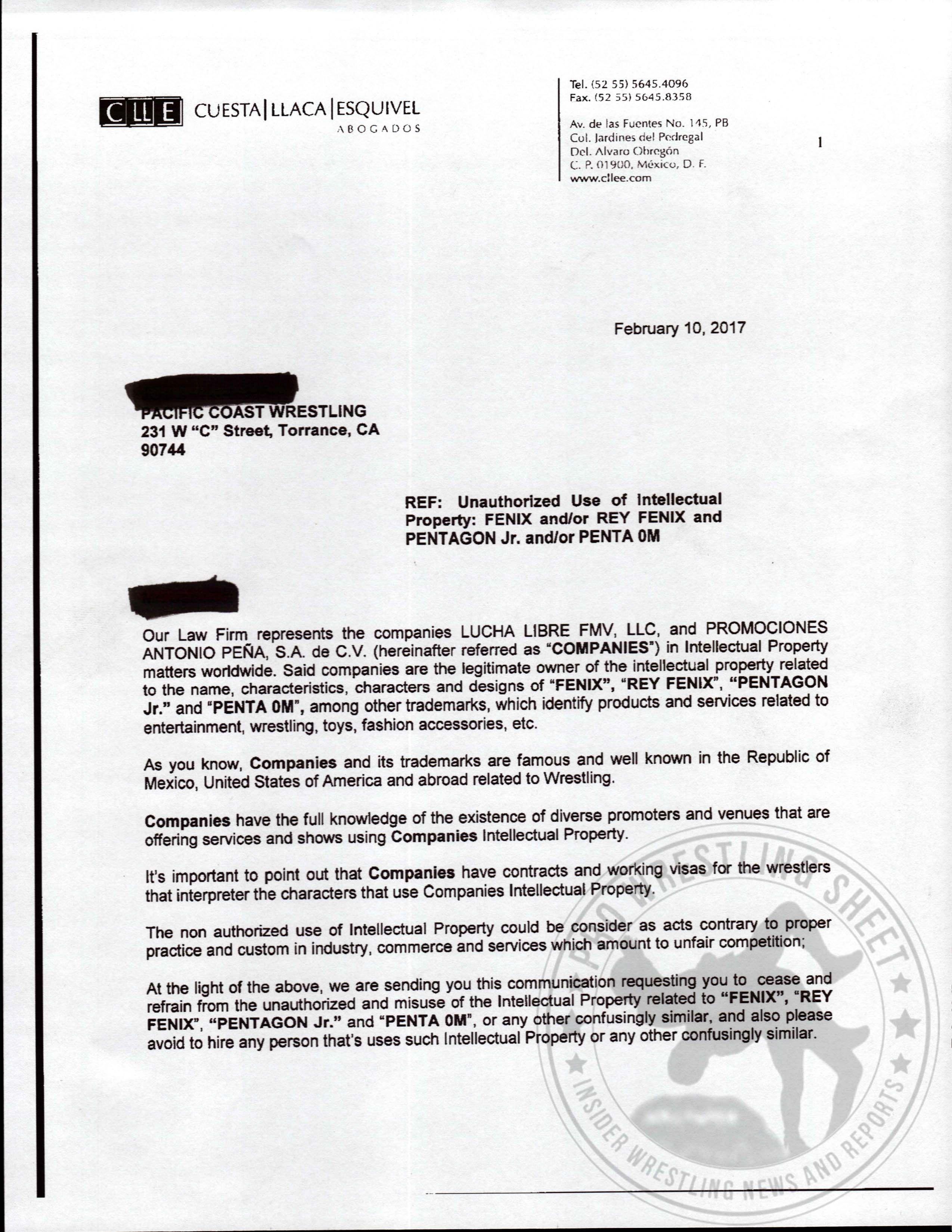 PCW / AAA Legal Letters | Pro Wrestling Sheet | Insider Wrestling