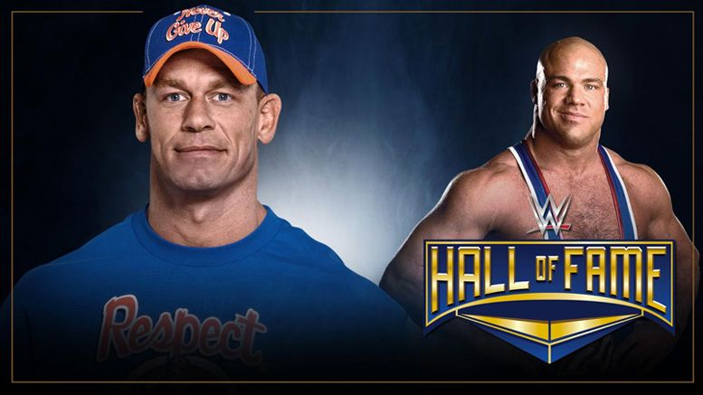 kurt angle john cena wwe hall of fame inductor inductee wrestlemania