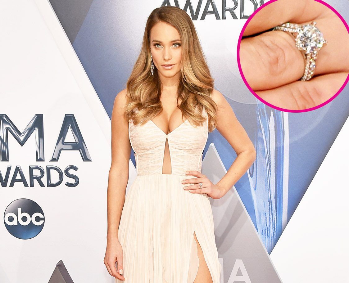 Hannah Davis showing her engagement ring