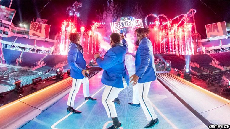wrestlemania set reveal video new day roller coaster