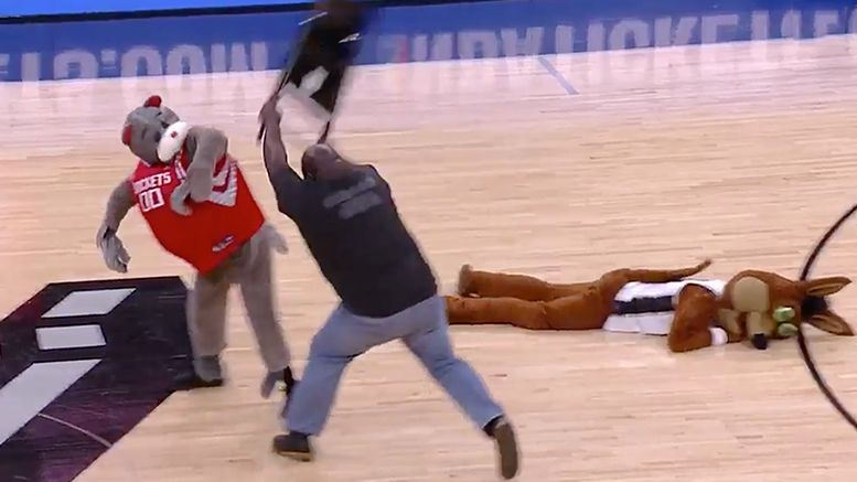 mark henry spurs rockets mascot chair attack playoffs video