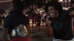 vegas strip kofi kingston twerks smackdown live tag title win celebration video