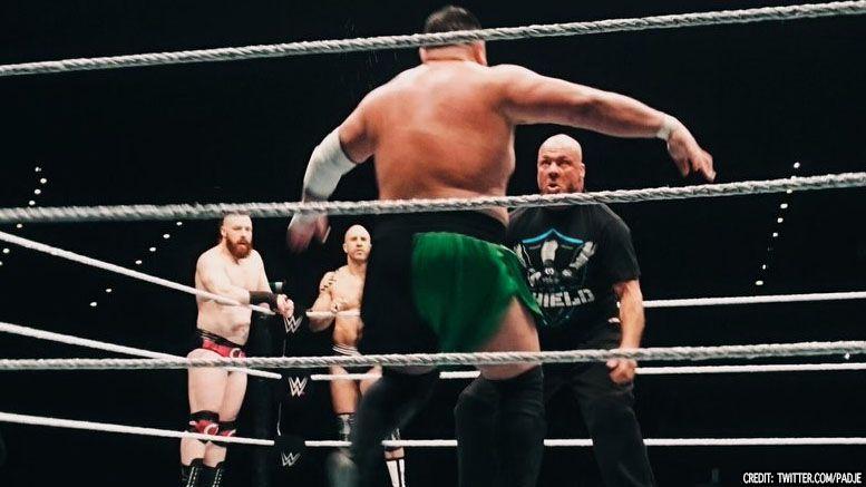 samoa joe kurt angle wrestle live event wwe video
