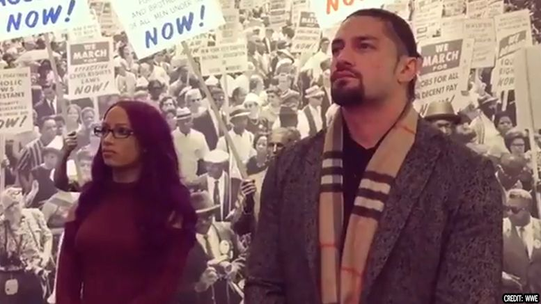 civil rights museum wwe titus o'neil h&m advertisement sasha banks roman reigns seth rollins