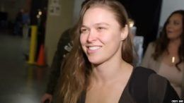 ronda rousey arrives wwe elimination chamber interview smiles smiling