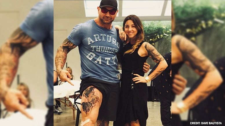 Dave Bautista Gets His Dogs Tattooed On His Leg Pics