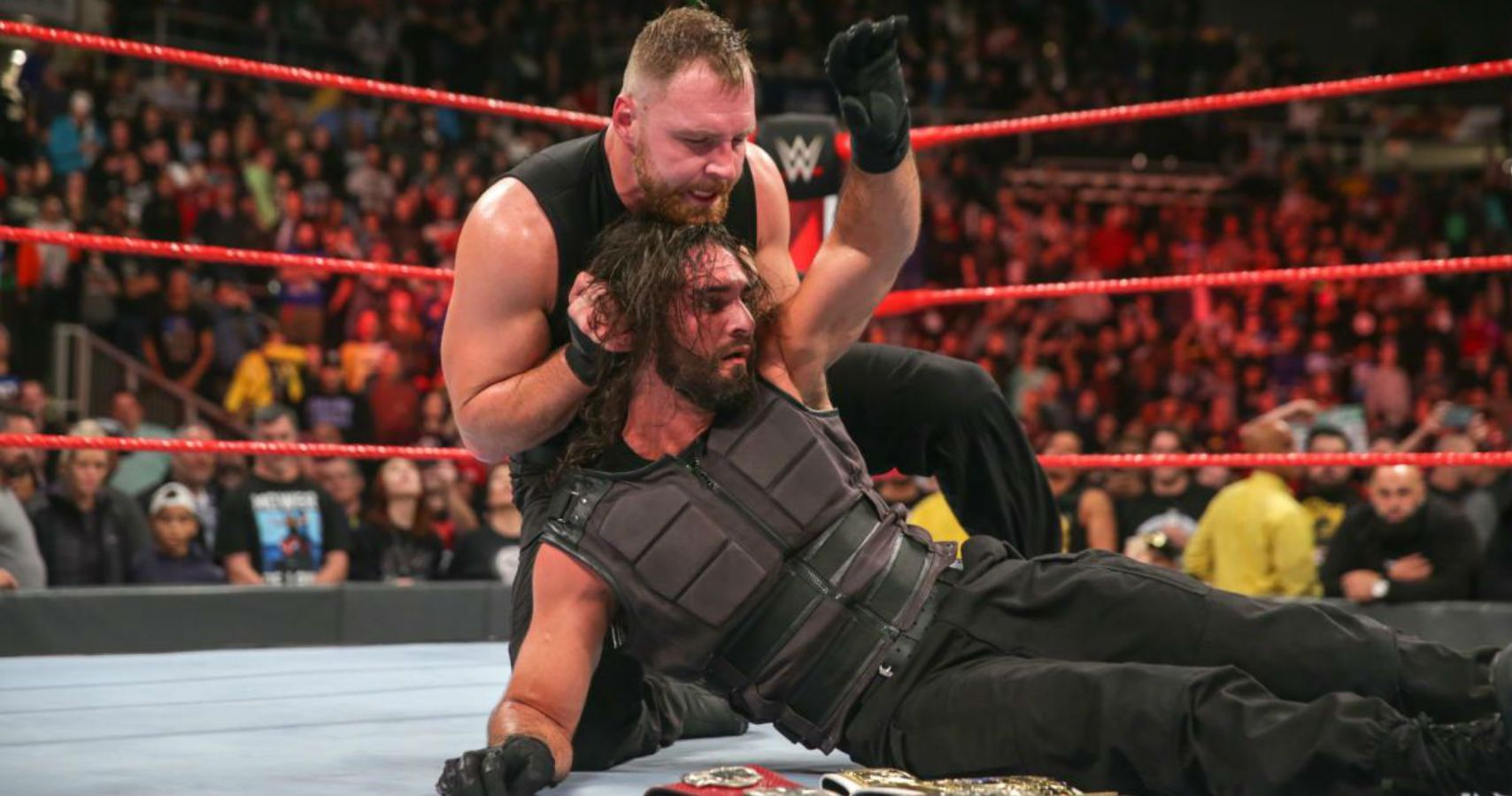 dean ambrose heel turn seth rollins video raw shield tag titles