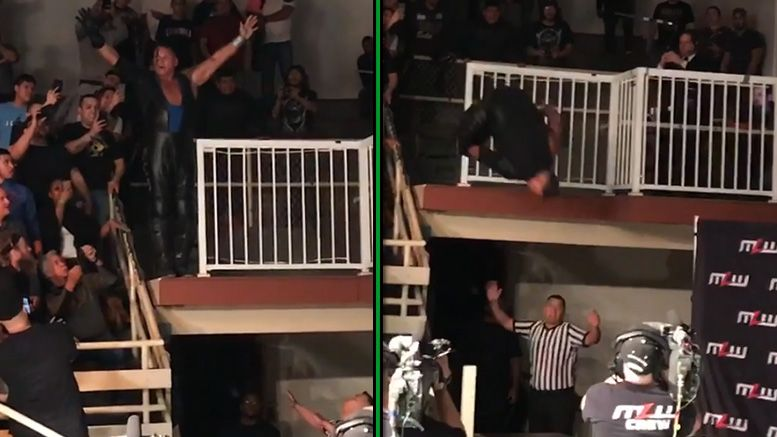 pco table mlw fightland hard fall balcony dive