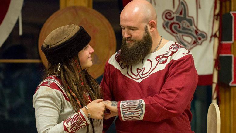 sarah logan raymond rowe married viking wedding photos