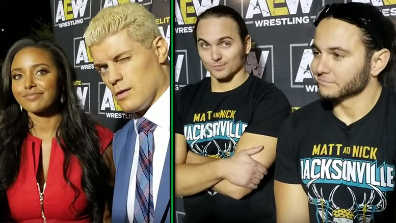 all elite wrestling post rally interviews cody rhodes young bucks brandi hangman page