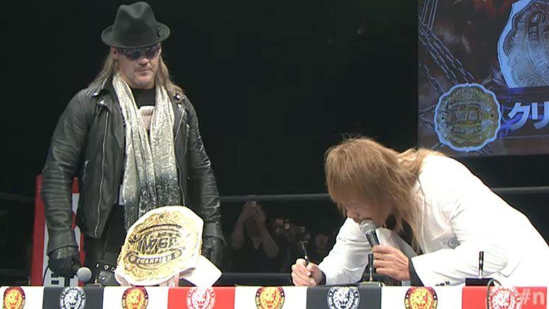 chris jericho tetsuya naito wrestle kingdom 13 no dq disqualification attack press conference video