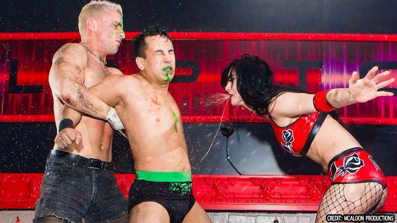 priscilla kelly throw up vomit opponent video ultimate bar brawl darby allin eli everfly