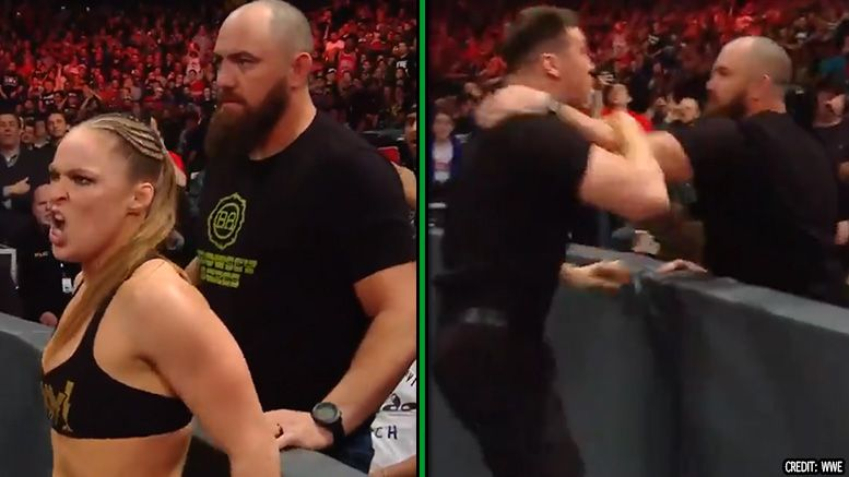 travis browne wwe raw ufc physical wwe security ronda rousey wrestlemania