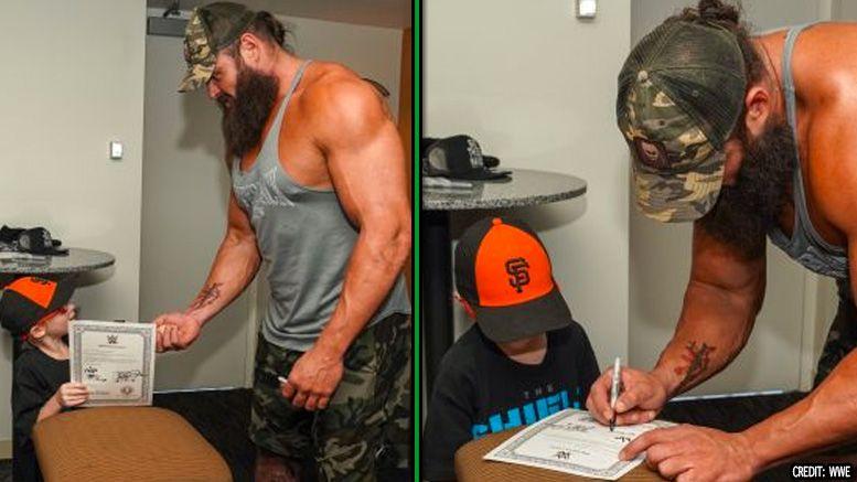 braun strowman make a wish kid honorary contract raw wwe