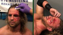 hangman adam page chris jericho attack fight for the fallen footage medical attention