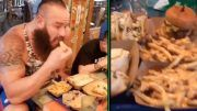 braun strowman eats food challenge video
