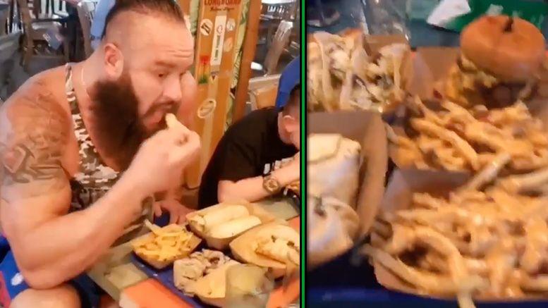 braun strowman eats food challenge video