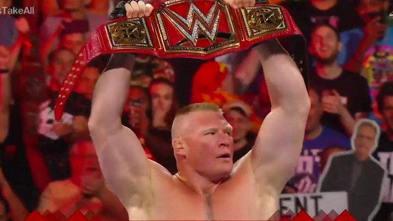 Brock Lesnar wins the extreme rules of the universal championship.
