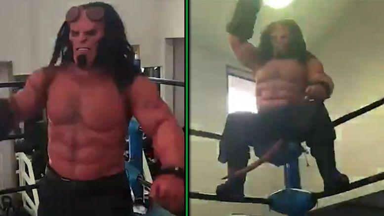 hellboy wrestling training video ajpw all japan