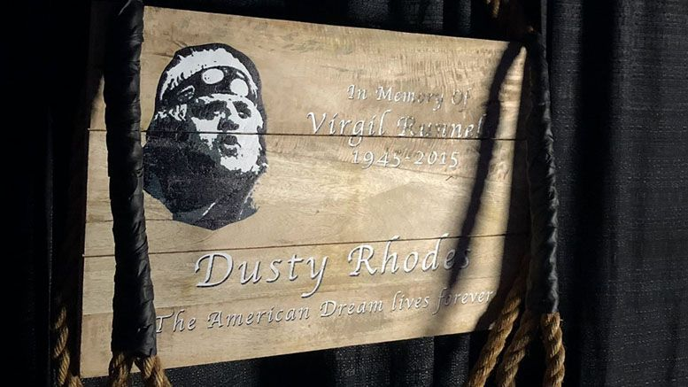 dusty rhodes honor memorial plaque cowbell tribute aew all elite wrestling