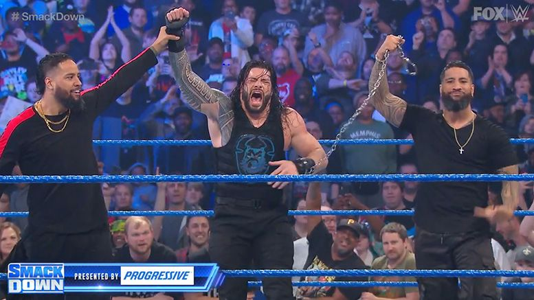 the usos return smackdown video roman reigns help