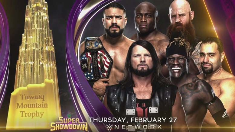 tuwaiq trophy gauntlet match wwe super showdown aj styles andrade