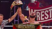 drew mcintyre wins wwe championship champion brock lesnar wrestlemania 36 results video