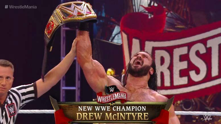 drew mcintyre wins wwe championship champion brock lesnar wrestlemania 36 results video