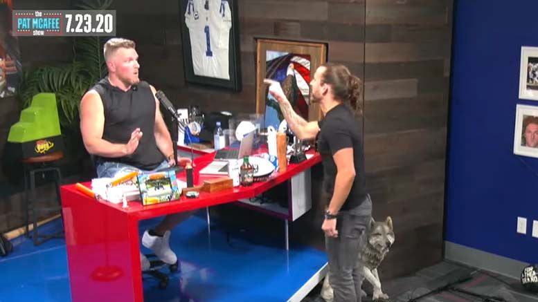 pat mcafee adam cole blow up storm off interview video