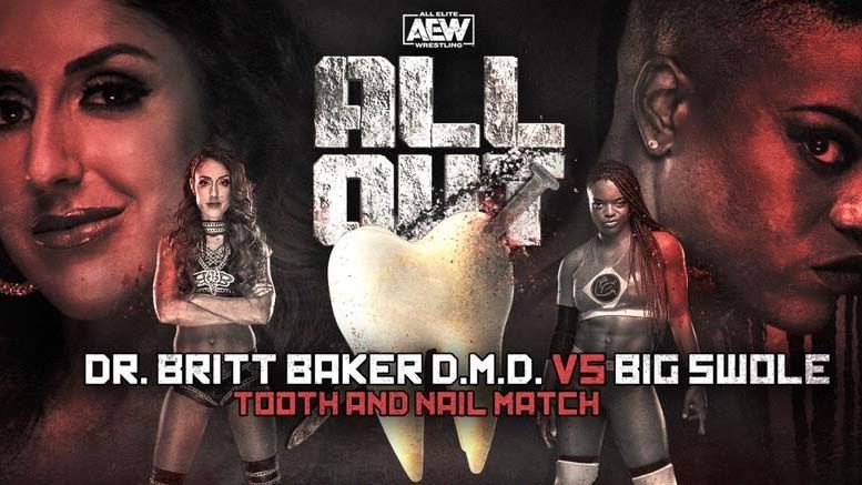 britt baker big swole tooth nail match all out moved main card fan complaints