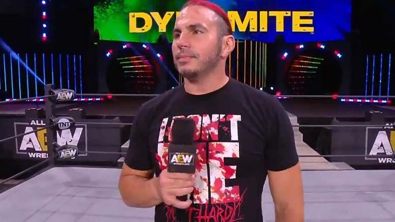 matt hardy promo dynamite injury aew all elite wrestling
